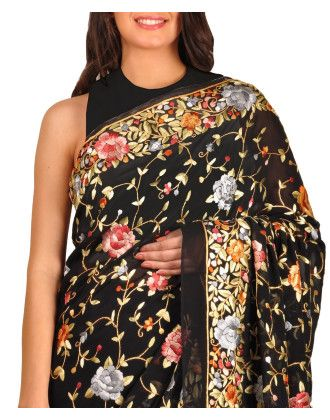 Black Parsi Gara Hand Embroidered Pure Georgette Saree