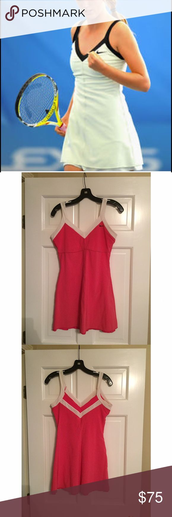 Pink & White Nike Tennis Dress This tennis dress is so cute! It has a built in bra and is so comfortable. I absolutely love it but it no longer fits me. No flaws. In excellent condition! Will consider any reasonable offers 😊 Nike Dresses
