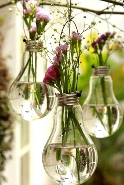 Re-use light bulbs for alternative vases. Great idea and will make your garden smell gorgeous!