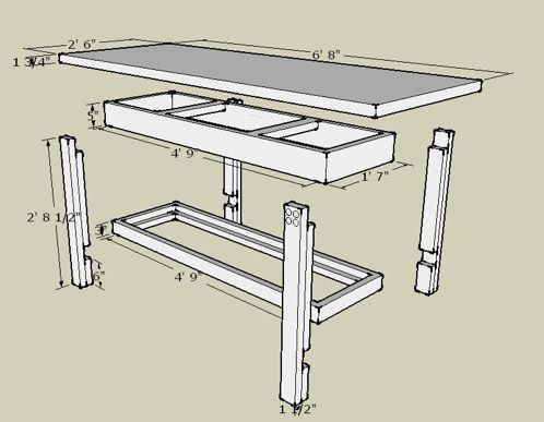 Workbench plans made with sketchup workbenches and for Table design sketchup