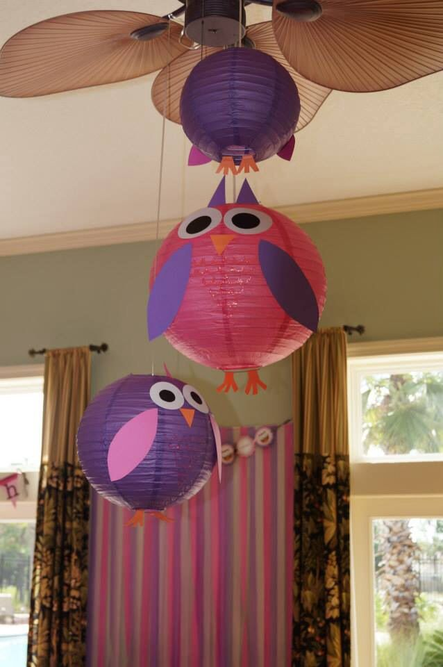 """DIY paper lantern owls for Bryn's 1st Birthday Super Easy! Just take paper lanterns from Hobby Lobby and cut card stock or construction paper for eyes, wings, ears and feet and attach with double sided tape! Took glitter glue to make """"feather chest"""" on front of owls :)"""