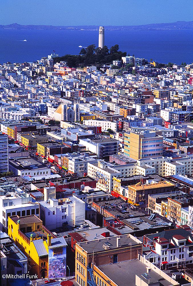 Chinatown And North Beach With Coit Tower In The Background, San Francisco By Mitchell Funk   www.mitchellfunk.com