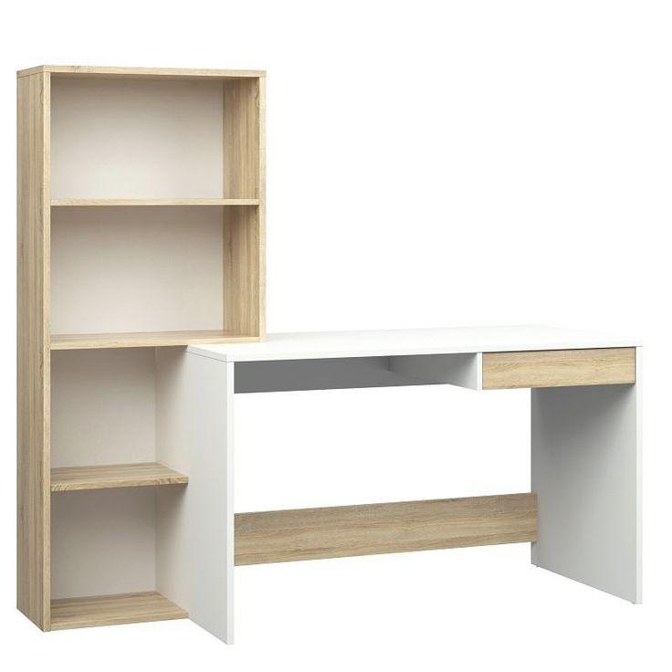 Function+Plus+Skrivebord+-+Hvid/Lys+træ+-+Fint+og+funktionelt+skrivebord+med+indbygget+reol.+Det+lyse+træ+passer+godt+til+det+hvide+bord+og+passer+særligt+godt+til+den+skandinaviske+stil+i+boligen.+Reolen+har+fire+hylder,+hvor+der+er+god+plads+til+opbevaring.+Under+skrivebordet+er+der+en+mindre+skuffe+til+småopbevaring.
