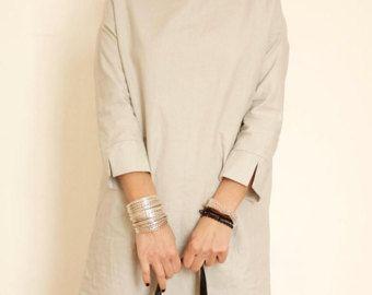 Túnica de cuello de barco vestido simple lino lino vestido corto vestido ropa túnica-recto-mínimo-Vestido de