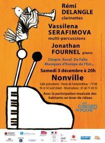 Rémi DELANGLE clarinettes, Vassilena SERAFIMOVA marimba & percussions, Jonathan FOURNEL piano | Les Concerts de Poche