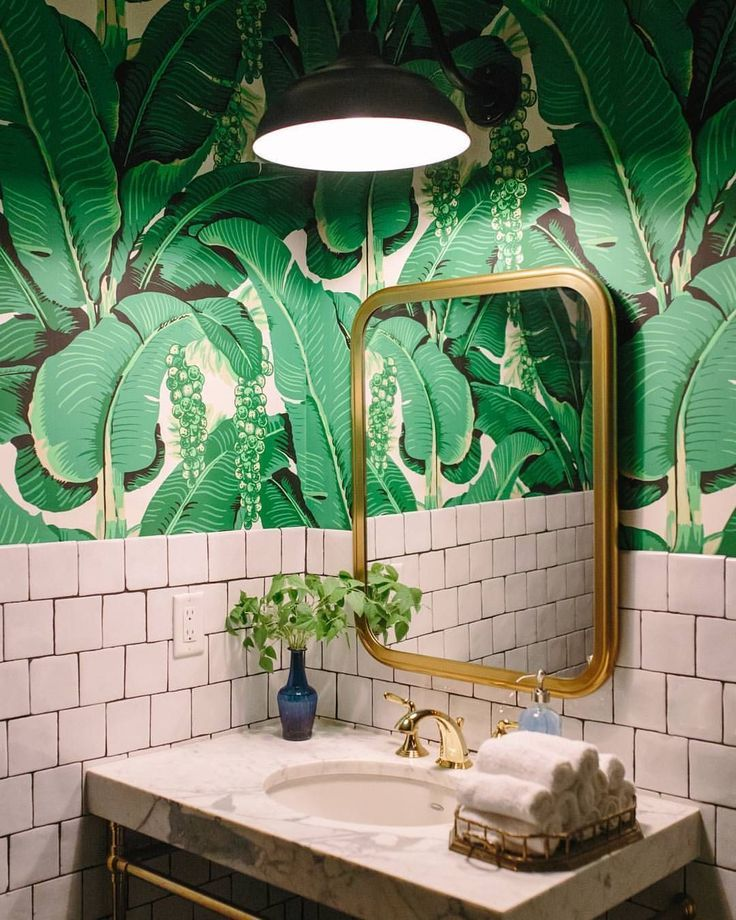 20 Photos That Will Prove Decorating With Pink And Green Is The Next Big Thing Living After Midnite Palm Wallpaper Tropical Bathroom Green Bathroom