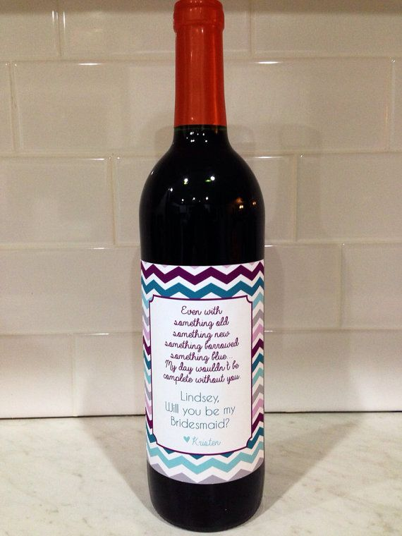will you be my bridesmaid wine bottle label by VintageLeeCrafted, $3.00