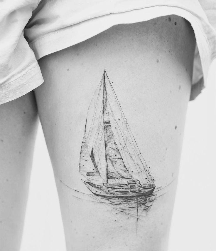 Sailing Boat Thigh Tattoo