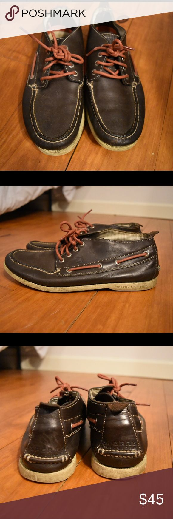 Men's Boat Shoes Chocolate brown with white sole and red laces. These shoes last forever and are very durable. Sperry Shoes Boat Shoes