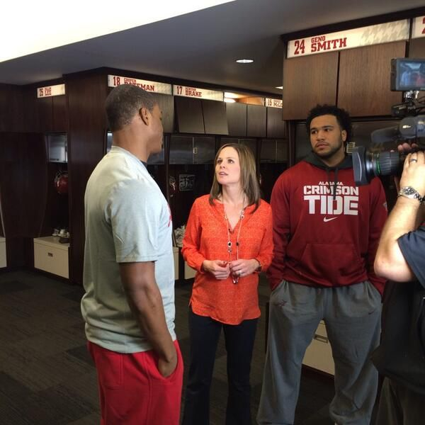 Amari Cooper, Trey DePriest and ESPN's  Shannon Spake. Roll Tide! Check out the new sports blog, RollTideWarEagle.com for stories that inform and entertain. Learn the rules of the game you love on Train Deck for FREE. #Alabama #RTR