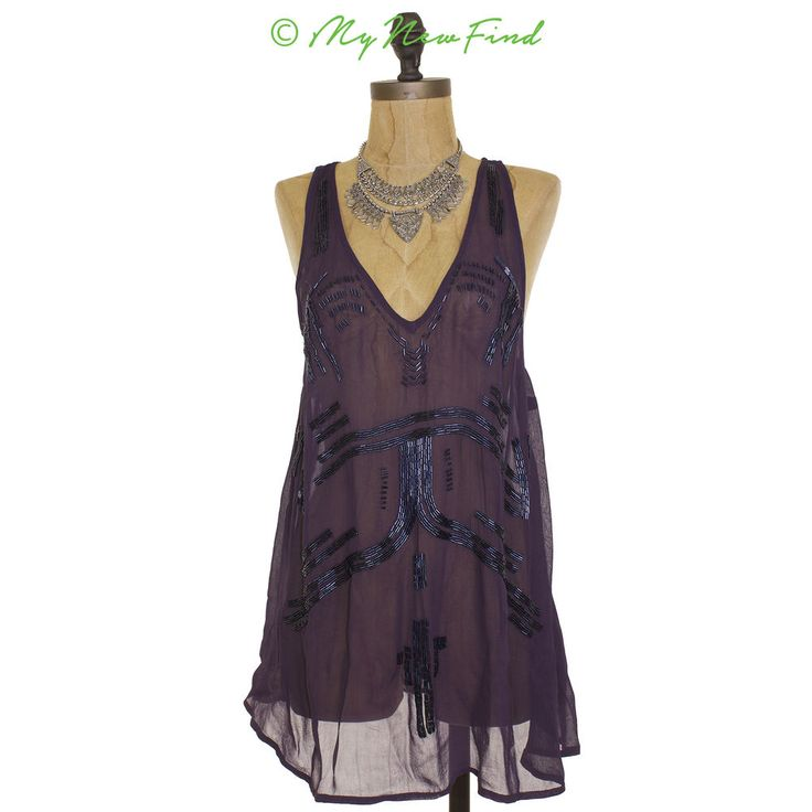 $118 FREE PEOPLE TANK BEAD IT PURPLE BOHO SHEER TOP BLOUSE CHIFFON S SMALL B32 #FreePeople #TankCami: