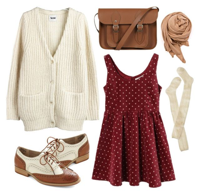 """""""Burgundy dots"""" by hanaglatison ❤ liked on Polyvore featuring Look From London, Acne Studios, Wigwam, The Cambridge Satchel Company, MANGO, burgundy, oxford, bag, scarf and polka dot"""