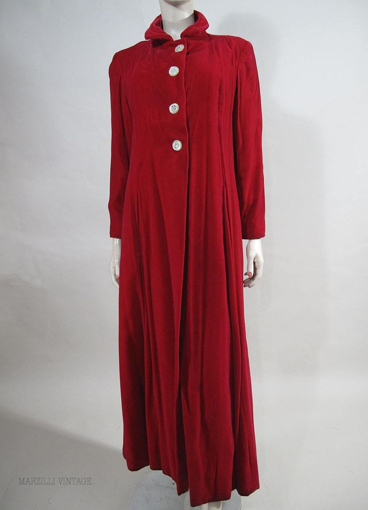 Long and luscious 1940's scarlet red velvet evening coat.