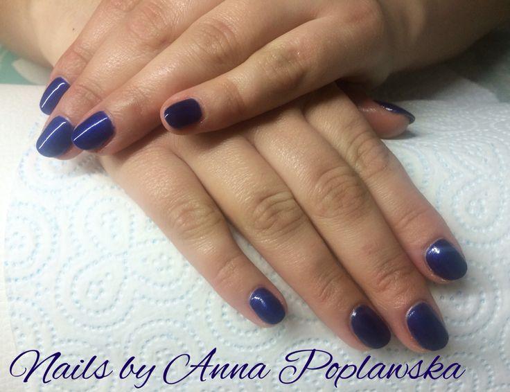 Dark ocean blue nails art