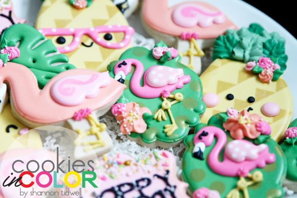 Flamingos & Pineapples   Cookies In Color  Shannon Tidwell