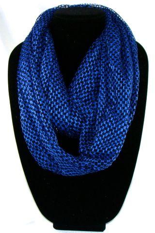 Comfortable Women's blue net infinite scarf. 163cmx53cm long scarf. #I122(YQJ)