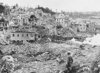 The incredible devastation of St. Lo after aerial bombing just prior to 'Operation Cobra'.