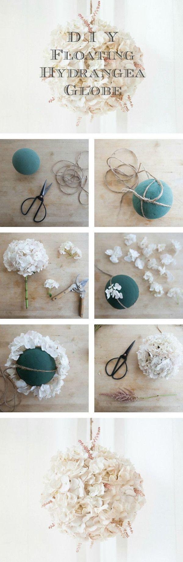 diy floating hydrangea globe for wedding decorations