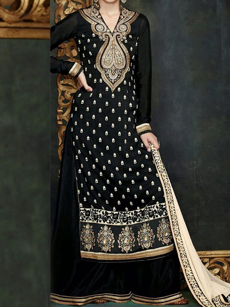 Mesmerizing Charcoal Black,Cream and Gold combination Palazzo suit.The beauty of this attire is in the all over back and front traditional Zari embroidery fused with delicate stone work.Heavily Embellished neck in gold - See more at: http://www.akalors.in/Salwar-Kameez/Stunning-Charcoal-Black-Faux-Georgette-Designer-Wear-Palazzo-Suit-id-1889038.html#sthash.bHAqWmne.dpuf