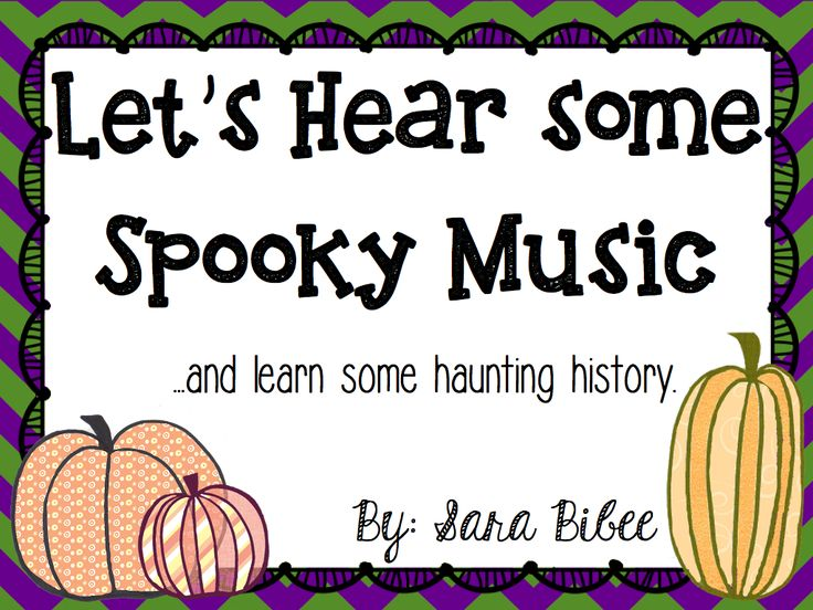 Halloween music to play for your students. Links to YouTube videos, and information about the composers and pieces. Lots of fun for the kids! http://www.teacherspayteachers.com/Product/Lets-Hear-Some-Spooky-Music-and-Learn-Haunting-History-Not-Just-for-Halloween-944414