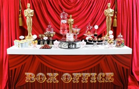 Our Hollywood Themed Counter In Plush Red And Gold Tags
