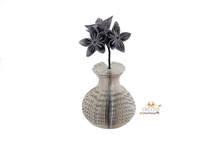Mini Book Vase with Origami Kusudama Flowers - presentation box - Mothers day - 1st Wedding Anniversary - 4th Wedding Anniversary - Gift by CreatonCrafts on Etsy
