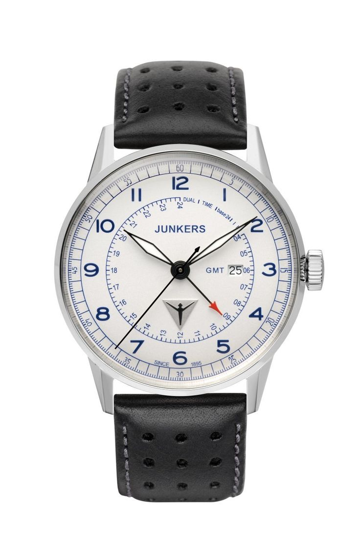 Junkers Men's Watch: 6946-3 GMT G38: Junkers German made GMT Watch with Ronda Swiss Quartz Movement, freely adjustable second time zone hand, stainless steel case, mineral glass crystal, black leather strap, white dial with blue digits, date.
