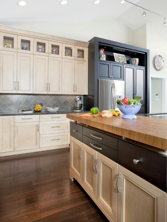 Light cabinets dark floor homey stuff pinterest for Dark kitchen cabinets with light floors