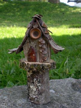 fairy house acorns birch bark
