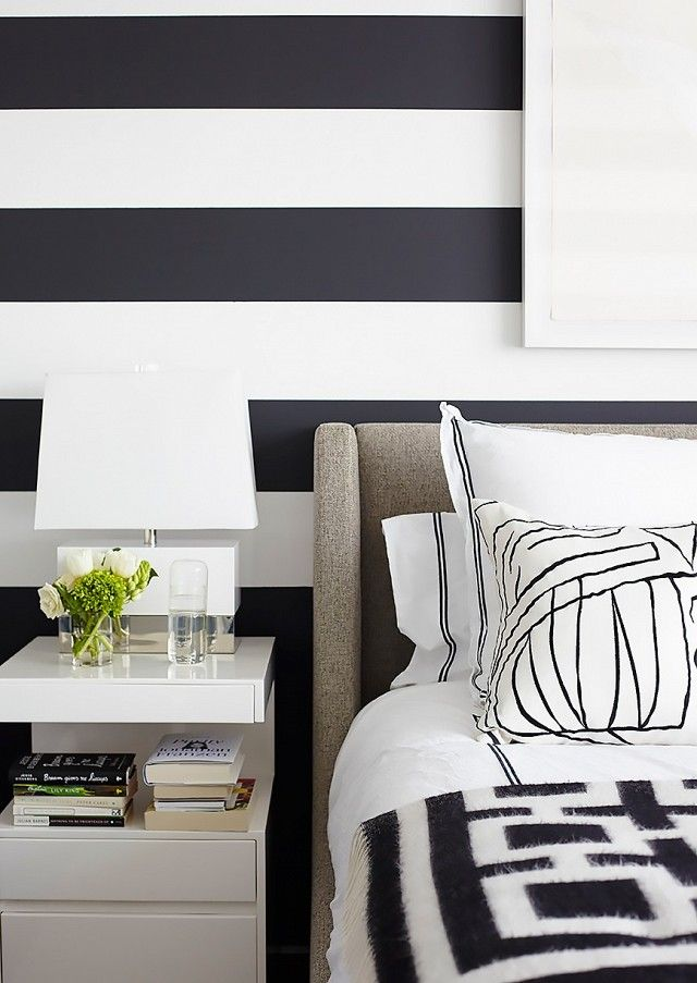 Detail Shot Of A Black And White Striped Wall Paired With A Black And White  Bedroom