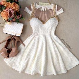 Vestido CARLA  Jacquard Premium C/ BOJO  (COR Off White)