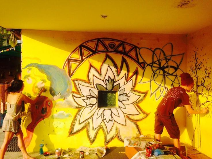 Graffiti Wall in Sitting Area with front view of Garden