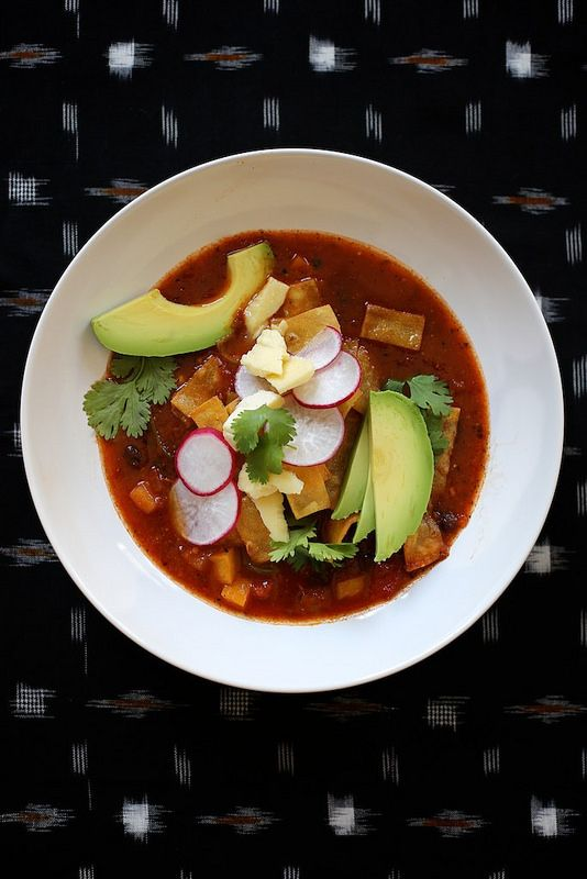 Spicy Vegetarian Tortilla Soup  - easily THM  E - no tortilla no cheese and sub greek yogart for sour cream