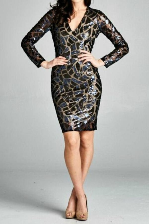 Inance Black Sequence Dress