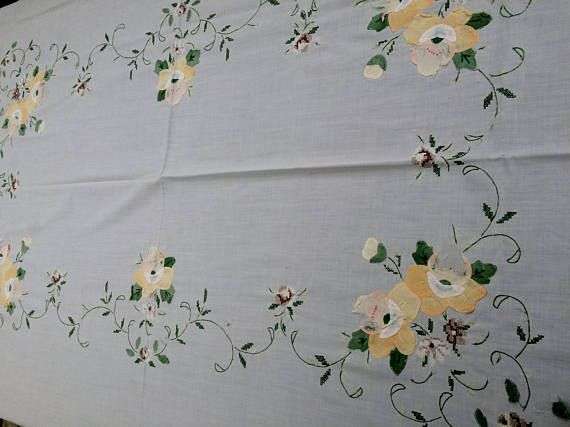 Cross Stich and Applique Tablecloth. Ivory Coloured Fine Batiste Linen Tablecloth. Shabby Chic Applique Oblong Tablecloth.  RBT1764