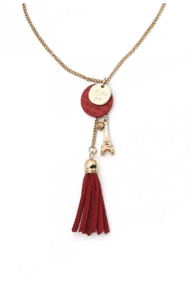 Długi naszyjnik z czerwoną zawieszką - Modne Duże Rozmiary