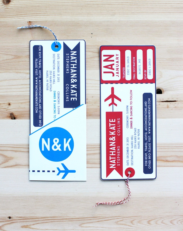 25 best evau0027s wedding theme images on Pinterest Aviation wedding - airplane ticket invitations