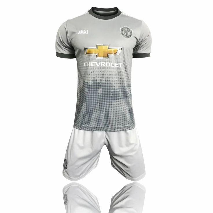 17/18 Cheap Adult Manchester United Third Away Grey Soccer Jersey Uniform  Men Football Jersey Kit Team Uniforms Wholesale