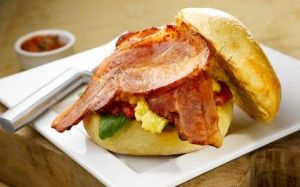 Bacon Baps with Eggs &Chilli Jam