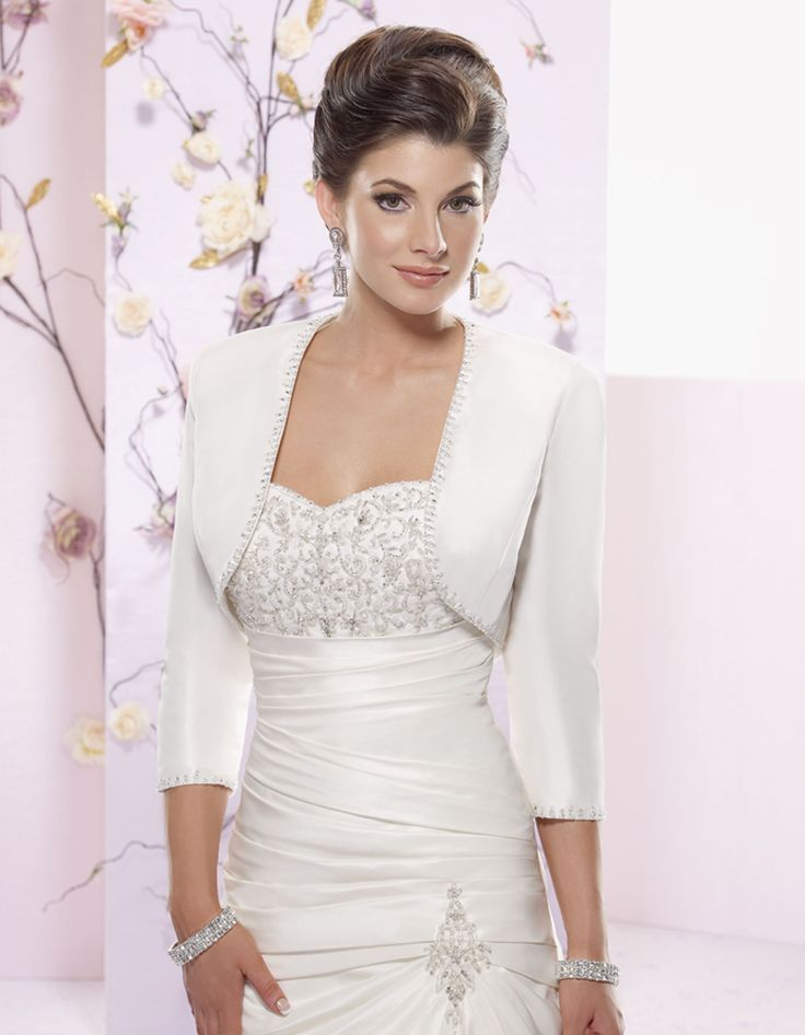 Gorgeous 3 4 Length Sleeve With Beading Wedding Dress Jacket