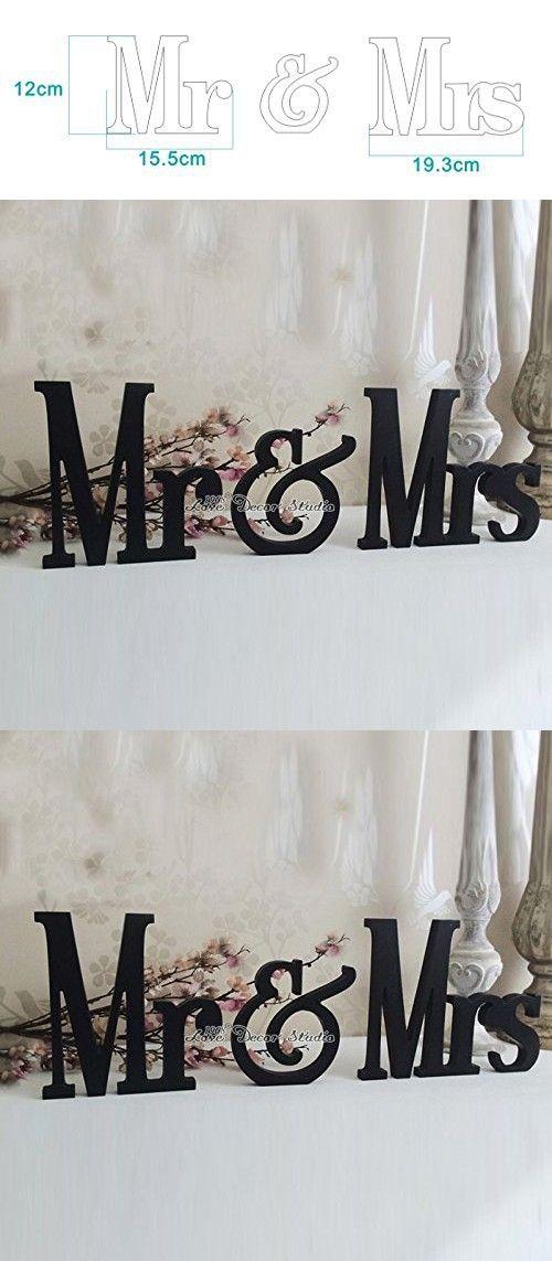 Wedding Sign Mr & Mrs Sign for Wedding Table Decoration Signage Black Mr & Mrs (7 inches)