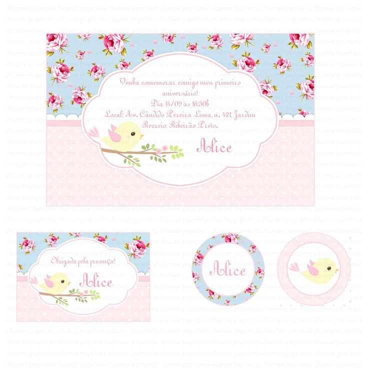 Kit digital Passarinhos Floral azul e rosa! Conheça mais de nosso trabalho: Acesse: www.charmepapeteria.com Curta: www.facebook.com/charmepapeteria