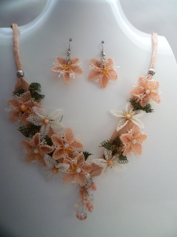 PinkWhite Needle Lace Embroidered Set by KamuranDesigns on Etsy, $80.00