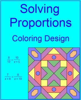 This is a coloring activity on solving 10 problems on proportions. There are 2 coloring activities on solving proportions. This activity is a little more challenging then the first one. Solving equations using the distributive property is reinforced and solving equations with variables on both sides is also reinforced.