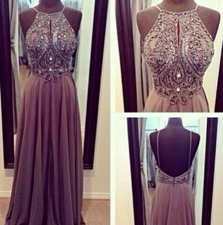 Hot Sale High Neck Open Back Crystal Prom Dresses vestidos de noche A Line Floor Length Evening Gowns 2014 New Arrival $179.00