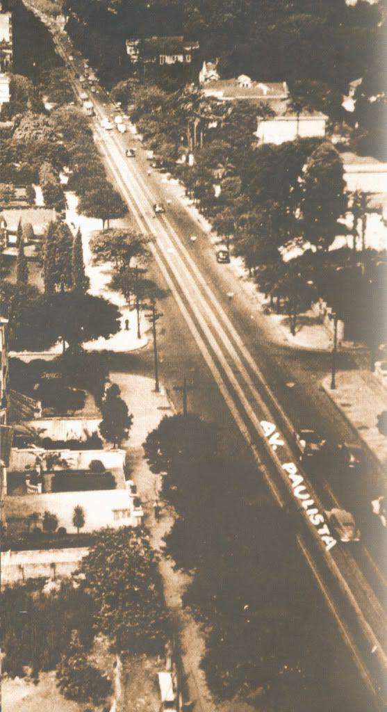Av. Paulista - Década de 1940. Talvez de um postal raríssimo
