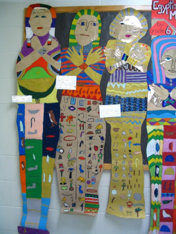 Giant mummy cases on brown Kraft paper. Including hieroglyphics is required. They are outlined in black Sharpie, colored with oil pastels, and then we've added gold paint and gold contact paper, mostly for hands and faces. The kids work in pairs, tracing the body of the smaller member of the pair, and working together to decide what the hieroglyphics will say.