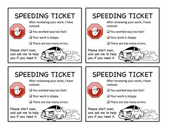 Speeding ticket for fast and/or sloppy work.