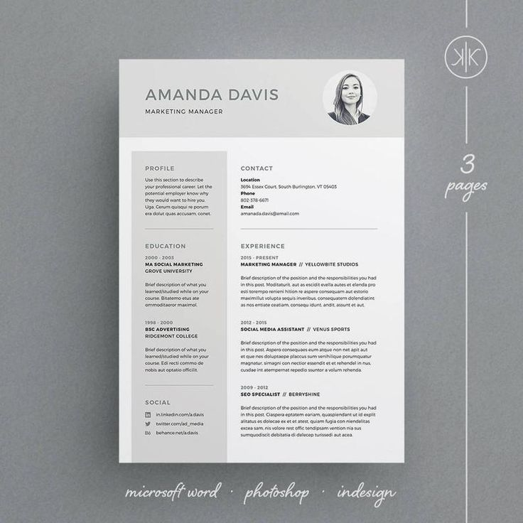 Amanda Resume/CV Template Word InDesign Etsy