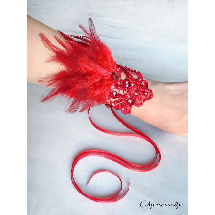 WEDDING | Chryssomally || Art & Fashion Designer - A breathtaking handmade bridal red lace cuff with feathers and crystals for a Valentine themed wedding